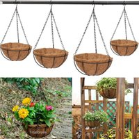Wholesale Wrought Coconut Half Round Plowerpot Hanging Pots Window Rattan Decorative Pots Wall Iron Garden Plant Planter Flower Basket