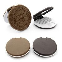 Wholesale 2pcs Fashion Mirror Comb Set Makeup Cosmetic Tool Lovely Cookie Chocolate Design