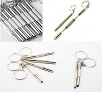 Wholesale Three in one features Screwdriver Keyring Eyeglass Glasses Mobile Phone Watch Repair Hand Tool Stainless Steel Repair Tools with Keychain