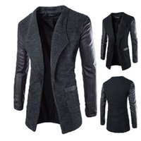 leather trench coat - Long Leather PU Sleeve Woolen Men Coats and Blends Winter Slim Fit Mens Trench Wool Coat Casual Jackets