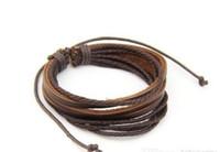 Wholesale Retro Tribal Leather Bracelet Men Women Rope Leather Braided Real Leather Bracelet wristbands Black and Brown vintage jewelry