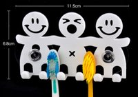 Wholesale New Fashion Bathroom Cute Smiling Face Toothbrush Holder Stand Suction Cartoon A300