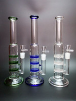 honey - New Bong hot selling three honey comb perk Bongs water pipes Oil Rigs glass bongs Green Blue and Clear Color mm