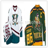 best new movies - 2016 New Cheap Anaheim Charlie Conway Best Mighty Ducks Movie Hockey Jerseys Green White Away Hockey Trikot Shirt Size S