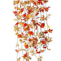 Wholesale 10pcs Plastic Ivy Red Maple Leaf Leaves Rattan Artificial Vines Fake Foliage Crafts Hanging Winding Home Garden Decor Ornamental