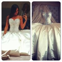 Wholesale 2015 Wedding Dresses Ball Gown Ivory Satin Wedding Gowns Sweetheart Beaded Crystals Sequins Floor Length Backless Bridal Gowns Fashion