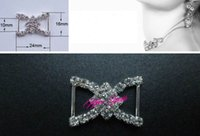 Wholesale 100pcs Heart Crystal Rhinestone Ribbon Slider Buckles Wedding Invitations mm
