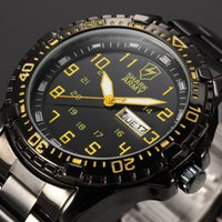 aries steels - Shark Army ARIES Series Auto Date Display Calendar Black Yellow Outdoor Stainless Male Clock Men Full Steel Sport Watch SAW092