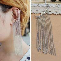 amethyst clip earrings - 2015 Real Rushed Brincos De Prata Ruby Jewelry Ouro Fashion Exaggerated Metal Chain Tassel Ear Clip Earrings Fan Club Price single C285