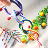 Wholesale 2015 New Design Colorful Flexible Bendy Soft Pencil for Kids Student School Office Gift FYJJ0065Y5