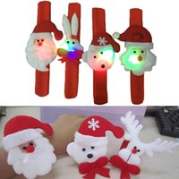Christmas Tree Ornament Lighted Cartoon Hot Sell Funny Christmas Children Gift toy Christmas Santa Claus Pat Hand Band Slap Clap Bracelet Luminous Festival