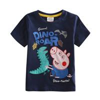 Wholesale Cartoon T shirt for Boys Kids Summer Wear Cute Pig Embroidery Short Sleeve Navy T shirt Children New Casual Tees C4032