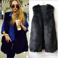 Wholesale 4077 New Winter Women Hot Sale Brief Design V Neck Sleeveless Solid Faux Fur Vest Coat Long Vest Jacket