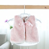 lace bow - 2014 Autumn New Baby Girls Bow lace fleecy vest Coat Girls Vest Children Waistcoats kids Clothes kid ALL Match Waistcoats A4576