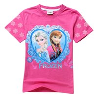 Cheap Fashiion Frozen Costume Children's Clothing Girls 100% Cotton Summer T shirt Elsa Top Tees for 2-10 Years Old Baby Kids Child Clothes
