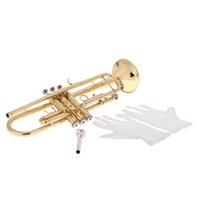Wholesale Trumpet Bb B Flat Brass Exquisite with Mouthpiece Gloves Popular Musical Instrument New Arrival order lt no track