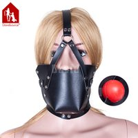 Wholesale Davidsource Plastic mm Mouth Gag Black Leather Mask Chin Lock Head Harness Adjustable Belt BDSM Slave Training Kit Sex Bondage