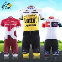 Cheap 2016 Tour De France Cycling Fashion Jerseys Set Pro Bike Team Katusha Lotto IAM Short Sleeve Summer Bicycle Clothing Can Mix Size