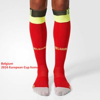 belgium sports - 2016 European Cup Belgium Home Men Sport Socks Red Soccer Socks Long Tube Socks Thick Towel Bottom Stockings