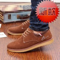 Lace-Up Men Flock Free shipping New design Men Casual Shoes Korean Trend Men British Nubuck Leather Shoes outdoor Sports flat fashion shoes 39-44