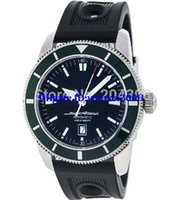 Cheap Luxury WOW New SuperOcean A17320 Stainless Steel Automatic Men's Watch green Bezel Mens Sport Wrist Watches Black Rubber Band