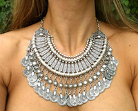 asian silver coins - New Vintage American Brand Silver Vintage gold Round Zinc Zamac Coin Tassels Choker Shourouk statement necklace Collar women