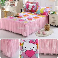 Adults Crib 100% Cotton 2015 New 100% Cotton Bedcover Hello Kitty With Lace Bedskirt Bedspread Mattress Cover Bedding Set For Twin Full Queen King Size