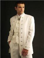Wool Blend best collars - 2016 New Custom Design Ivory Groom Tuxedos Stand Collar Best Man Groomsman Men Wedding Suits Jacket Pants Vest Tie OK