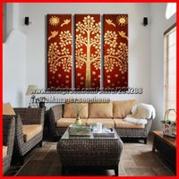 Cheap Framed 3 Panel Large Chinese Style Gold Wall Panel Feng Shui Modern Oil Painting Canvas Art 3 Piece Picture Home Decor XD01824