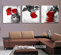 Wholesale 3 Piece red Rose Home Decorative Canvas Painting Living Room Paint Wall Hanging Art Picture Paint On Canvas Prints T