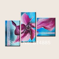 Cheap 3 Panels Painting ,Top Home Decoration Top Quality Modern Abstract Handmade Flower Oil Painting Wall Art TH137