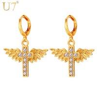 beaded cross earrings - U7 Unisex Factory Price Cross Earrings Jewelry Gift Colors K Real Gold Platinum Plated Drop Earrings E1106