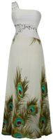 al por mayor vestidos de gasa impresa-Angel-modas de las mujeres de un solo hombro Impresión de pavo real de cuentas rebordeado plisados Maxi gasa Prom vestidos de novia vestido de fiesta de baile