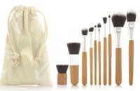 Wholesale 10 Pro Cosmetic Brush set Bamboo Handle Synthetic Makeup Brush Kit make up toiletries brush tools
