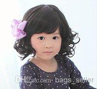 Wholesale Girl Wig Black Color Short Curly Oblique Bang B39