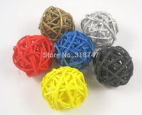 bamboo and rattan - 3cm Mixed Colors Wedding Home Decoration Woven Wicker Ball Arts And Crafts Rattan