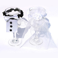 Wholesale 2pcs BRIDE GROOM Wedding Party Decoration Wine Glass Covers