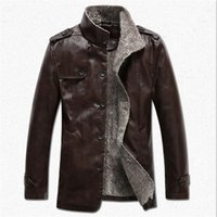 Wholesale Fall Thick Warm Mens Faux Fur Coat New Brand Suede Jacket Shearling Winter Coat Men Long Leather Jacket Men Lamb Fur Trench