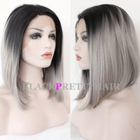 Wholesale Short Ombre Gray Bob Wigs Synthetic Grey Bob Wig Heat Resistant Bob Gray Lace Front Wig Glueless Bob Grey Lace Wigs For Women