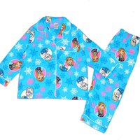 Girl Summer 2,3,4,5,6,8T 2014 free shipping children Frozen girl girls long sleeved pajamas pyjamas top + pant flannel flannelette winter pyjamas pajamas pjs