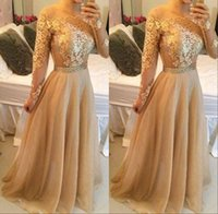 Wholesale Sexy Gold Prom Party Dresses Off Shoulder Lace Long Sleeve Backless A Line Floor Length Vintage Evening Gowns