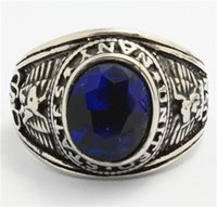 Wholesale Factory Price L Stainless Steel Top Fashion Navy Blue Stone Ring Cool Band Party Sapphire Mens Ring