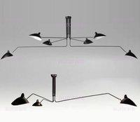 al por mayor diseño de giro de-3 6 cabezas Serge Mouille Pole Lámpara Pendiente Sabre Rattling Swing Lámpara de techo Duckbill Metal Comedor Lámpara de techo lámpara de diseño mecánico