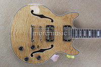 Wholesale Custom Shop Natural Wave Classic Semi Hollow Jazz Guitar High Quality Cheap
