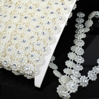Trims decorative mesh - Pearls Chain mm Crystal Rhinestone Mesh Trimming Flat Back Imitation Pearl Chain For Garment Decorative Rhinestone Trim Decoration