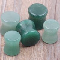 40pcs 5-10mm / lot Jade bijoux piercing bouchon d'oreille solide vert et Flesh Tunnel pierce