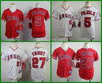 baseball team angels - 30 Teams New Youth Los Angels Jerseys Albert Pujols Mike Trout White Red Baseball Jerseys TOP Quality S XL Mix Order