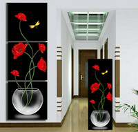 Wholesale 3 Panels Painting Wall Hanging Canvas Picture Paint Modern living room Decorative red flower Home Decor vertical painting T