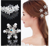 Wholesale Luxury fashion bride headdress U hairpins Snow diamond pearl pin dish hair accessories Wedding accessories