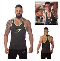 army undershirt - 2016 Sprint New Style Gymshark Tanks Men Brand Muscle Tank Top Gym Shark Fitness Clothes Men Bodybuilding Vest Undershirt